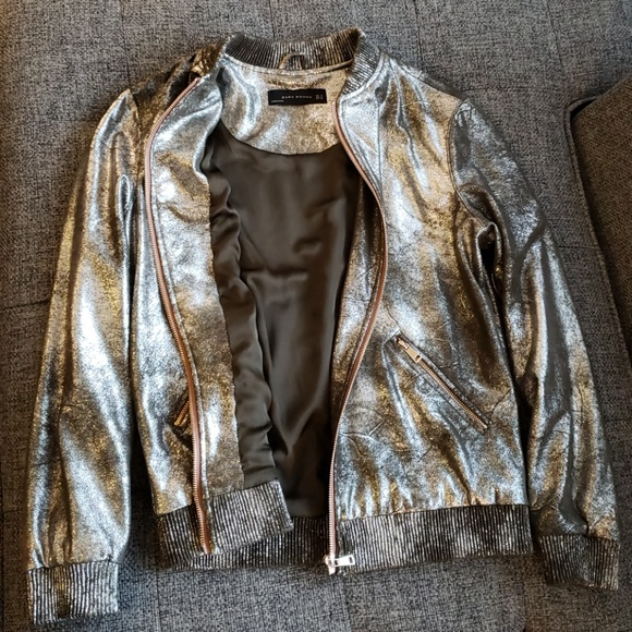 21243654 Zara Jackets & Coats | Metallic Bomber Jacket Size S | Poshmark